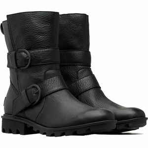 NWT Sorel Black Leather Phoenix Moto Boot